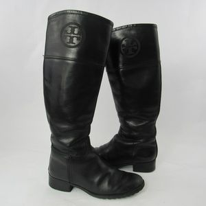 Tory Burch Riding Boots Tall Pull On Leather